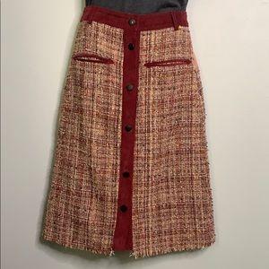 Anthropologie Harlyn Red Pink Tweed XS
